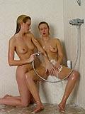 Watch lustful little teenies making wet love in the shower