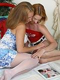 Busty teen in white stockings finger fucks friend