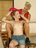 Watch two lesbian teens in sixtyniner licking action on desk