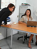 Watch two stunning lesbians lick n kiss in office lovemaking