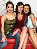 Three enticing brunettes lick and dildo tight wet twats