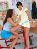 Two naughty schoolgirls lick fresh sweet lesbian pussy juice
