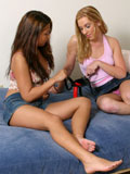 Penetration with strapon has hot girlfriend ride and buck