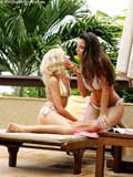 Watch two gorgeous outdoor lesbians making love for you