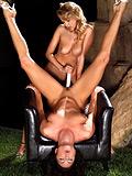 Ravishing vixens strip lick and dildo wet holes in garden