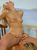 Luscious blonds nude and tongue dripping quims poolside