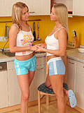 Luscious blonde teens lick and strapon fuck tender twats