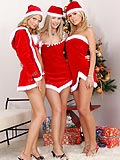 Xmas romp gets sweaty as hot lesbian grinds down on strap on