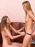 Fresh young teens explore deep penetration with strapon