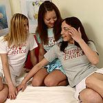 Sensual kisses go deep as three gorgeous girls make love
