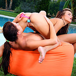 Bikini hotties toy and trib wet pussies and butts poolside