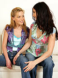 See cuddling lesbians rub their beautiful breasts together