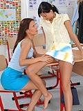 Schoolgirl learns hot lesbian love lessons from teacher