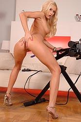 Hot blonde riding a fucking machine