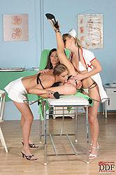 Hot lesbian nurses treating a girl