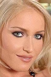 Horny blonde Kathia dildos herself