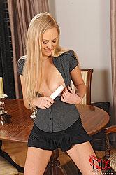Blonde babe Adriana masturbating