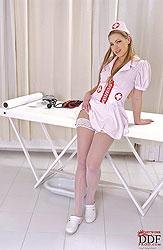 sexy nurse gives up close self exam