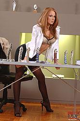 Sexy Julia Taylor testing dildos