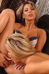 Blonde lesbians licking each other