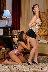 Hot brunette babes in lesbian tryst