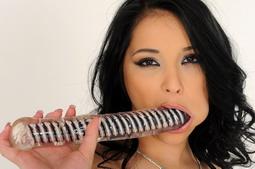 Hot brunette babe Lana is dildoing her wet pussy