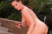 Sexy pornstar Sandra Shine fingering outdoor