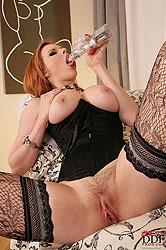 Big tits redhead slut masturbates