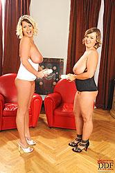 Busty Jenifer & Lola foaming boobs