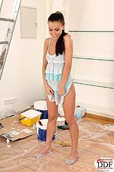 Sexy Eva Smolina toying during work