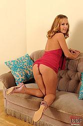 Blonde babe Zuzana Z naked on sofa