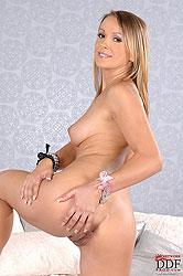 Oliviya slides digits into her pink