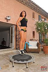 Hot busty babe LaTaya Roxx jumping