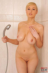 Hot busty bombshell nude shower!