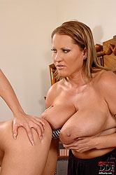 Boss lady enjoys her big breasts!