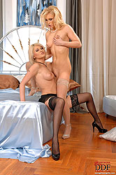 Hot lesbian babes in sexy lingerie