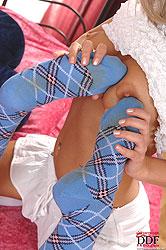Hot teen lesbians in cotton socks