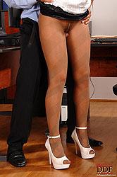 Drizzling hot cum in white heels!