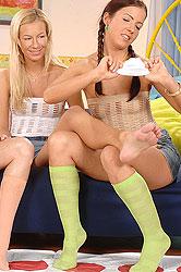 Foot fetish lesbian threesome sex