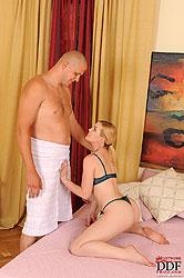 Brunette Kala Ferard sucking cock!