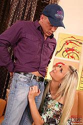 Blonde slut Laura sucking cock!