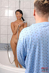 Asian babe Sharon Lee sucking cock