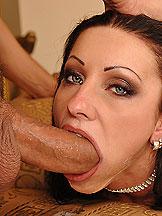 Horny pornstar Vica in deepthroat act with facial