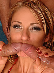 Hot Greta sucking three cocks with her deep throat
