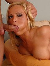 Huge titted blonde doing hard deepthroat blowjob