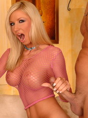 Very sexy blonde with huge boobs sucking dicks