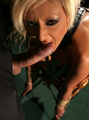 I tied the screaming slut to a chair and fucked