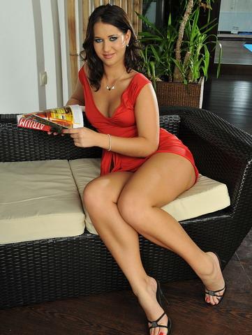 Hot brunette Kathalina is enjoying two hard cocks