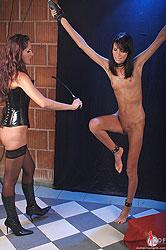 Lesbian sex with bondage & spanking