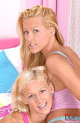 Teen blonde lesbians having hot sex